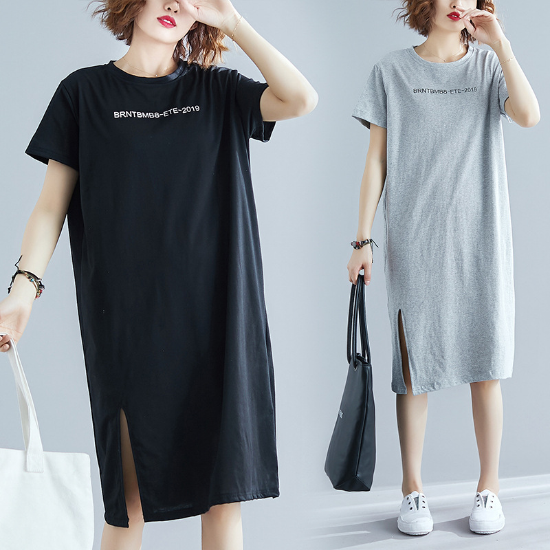 Sc2019 Summer New Style Short-sleeve Dress Literature And Art Large Size Loose-Fit Slit Mid-length Base Skirt