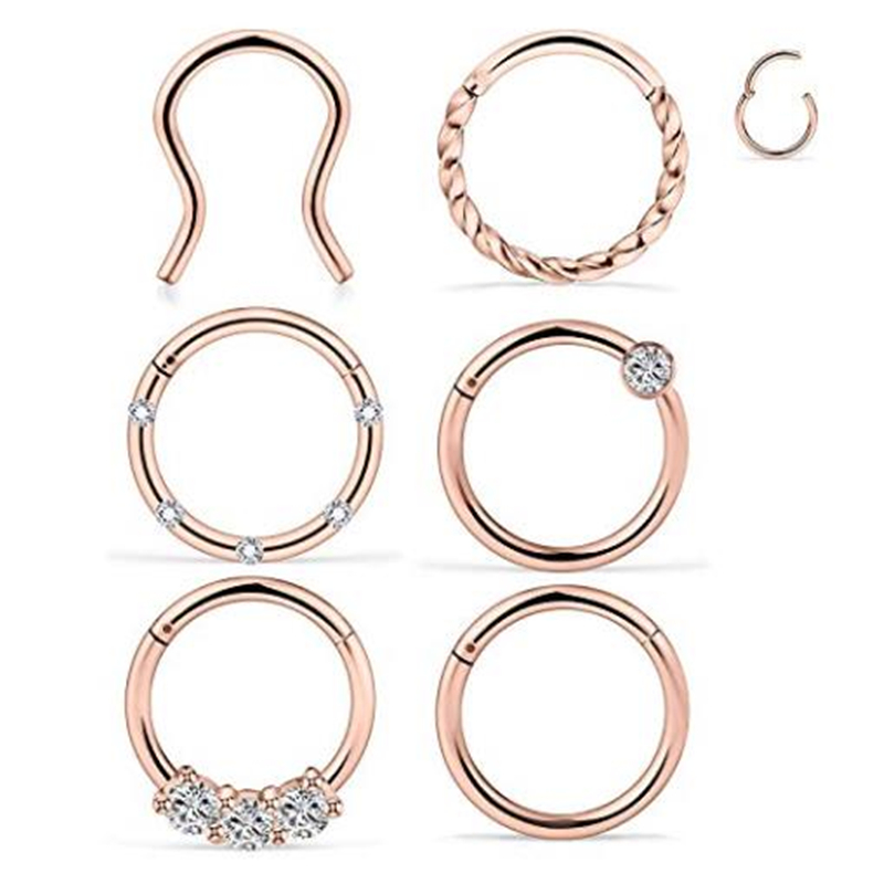 Nose Ear Ring Clicker with Linked Chain 16g 1.2mm 316L Surgical Steel Septum