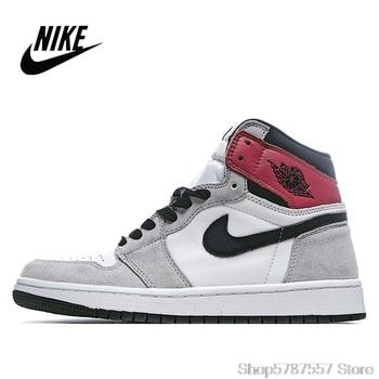 Original NIke Air Jordan 1 Light Smoke Grey Men's and Women's basketball shoes size 36-45 555088-126