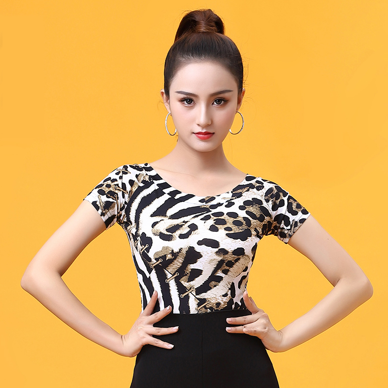 Fashion Ballroom Modern O-neck Sexy Latin Dance Clothes Top For Female/women,Leopard Short-sleeve Perfessional Costume YT0519