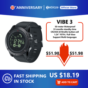 New Zeblaze VIBE 3 Flagship Rugged Smartwatch 33-month Standby Time 24h All-Weather Monitoring Smart Watch For IOS And Android(China)