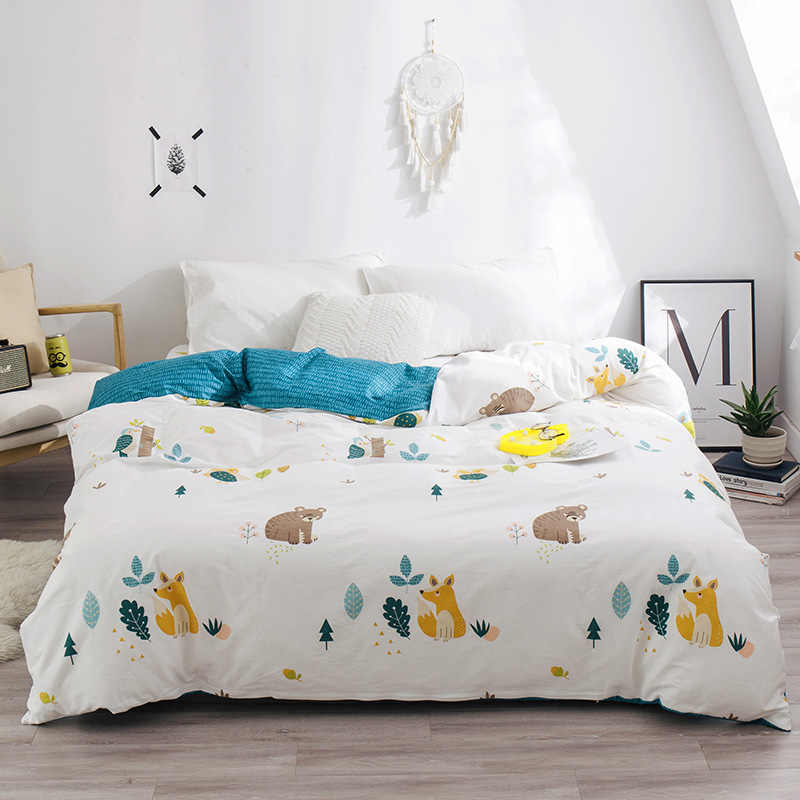 Nordic Winter Forest Small Animals Printed Duvet Cover Quilt Cover 100% Cotton Bed Linen for Adult Kid Gift Twin Full Queen King