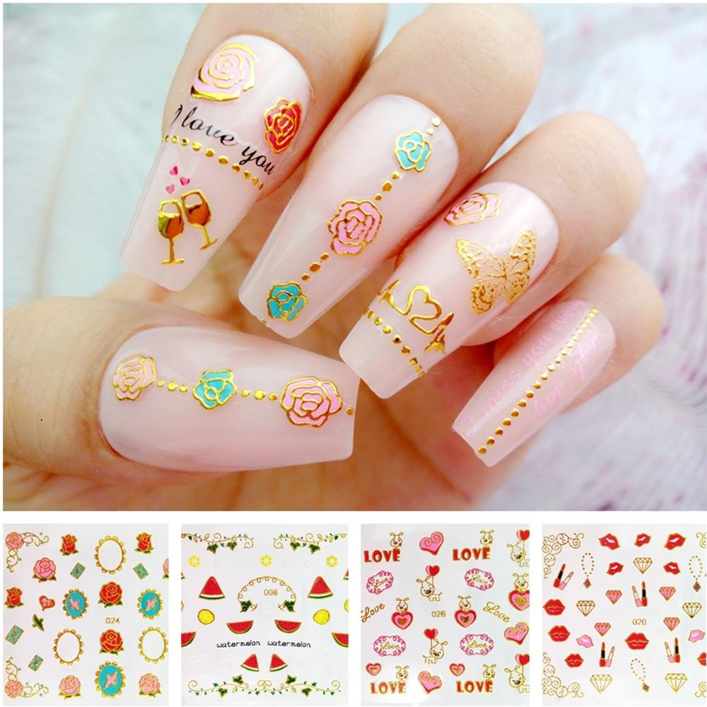 Купить 2 шт красочные гелевые наклейки для ногтей бронзовые самоклеящиеся