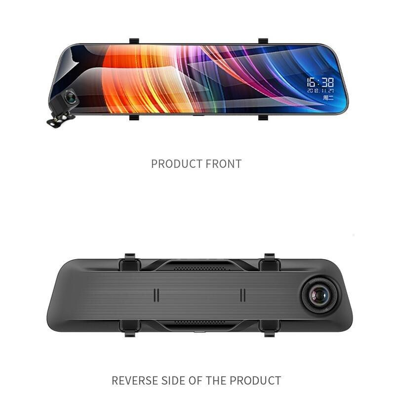 12 дюймов видеорегистратор зеркало заднего вида потоковое HD ночное видение зеркало заднего вида камера двойной объектив Автомобильная каме...