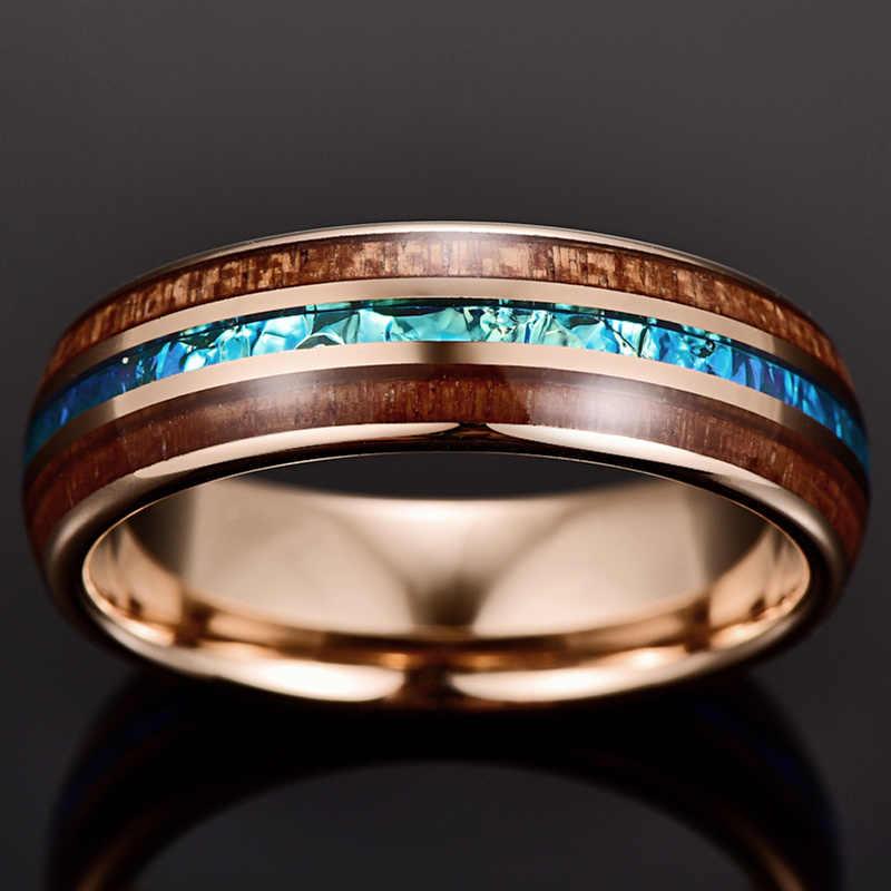 الزفاف الذكرى التنغستن الصلب خواتم هدية 6 مللي متر واسعة تصفيح ارتفع الذهب مطعمة السنط قبة روز الذهب خاتم