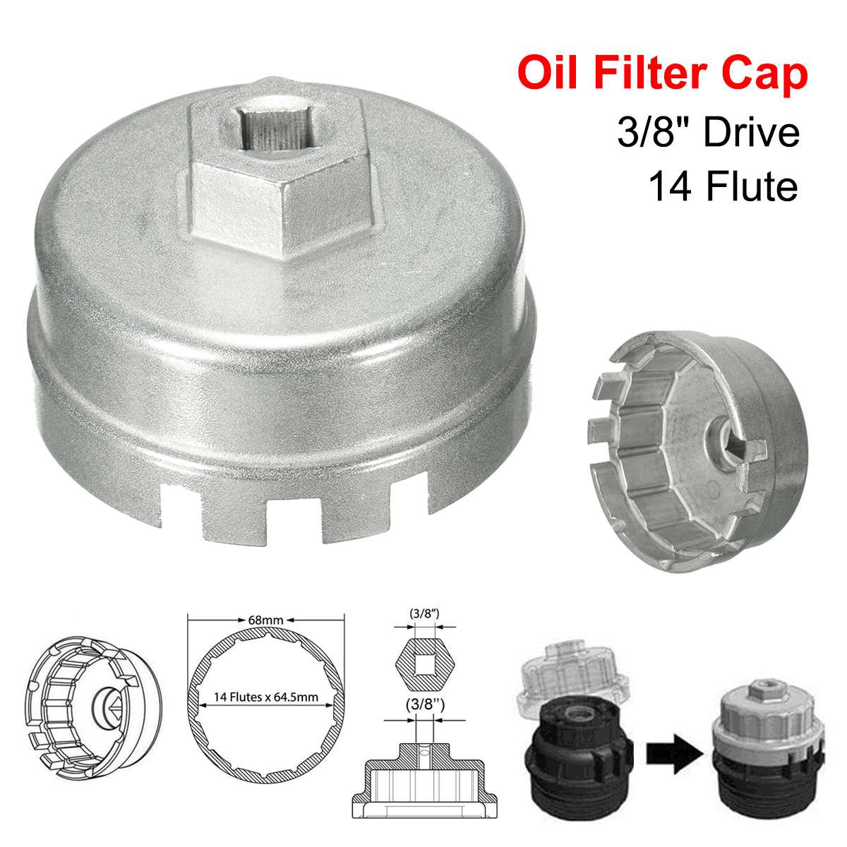 Car Oil Filter Cap Wrench Cup Socket Remover Tool 65mm 14 Flute for Toyota A8 ZY