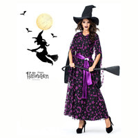 SLADUO Purple Star Moon Magic Witch Witch Europe Costume Cosplay Fancy Dress Zombie Ghost Witch Costumes