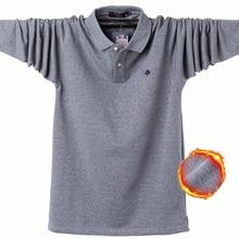 Мужские зимние плотные теплые рубашки поло большого размера плюс 6XL, повседневные теплые флисовые мужские рубашки поло с длинным рукавом, брендовая одежда