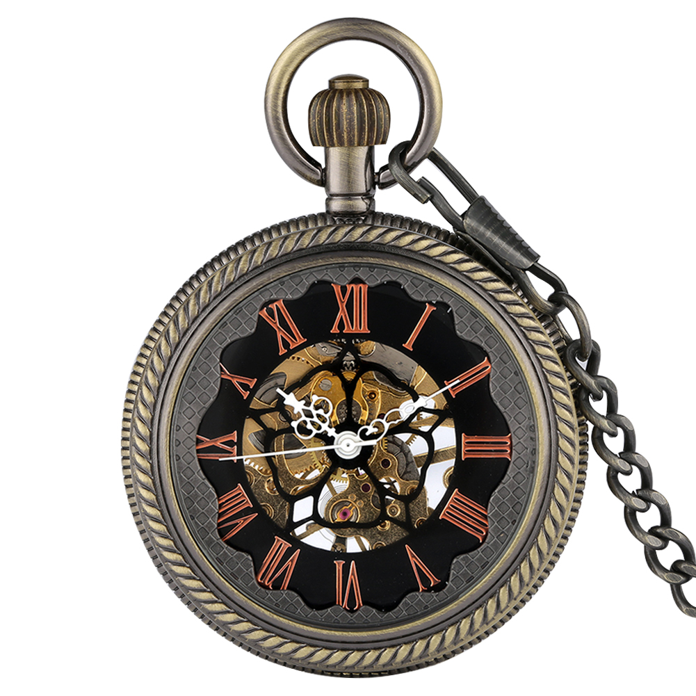 Mechanical Pocket Watch Hollow-out Case Necklace Clock With Chain Gift For Men Women Accessory Relojes De Bolsillo Para Hombre