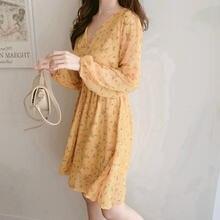Платья с длинными рукавами в китайском стиле маленькие цветочным