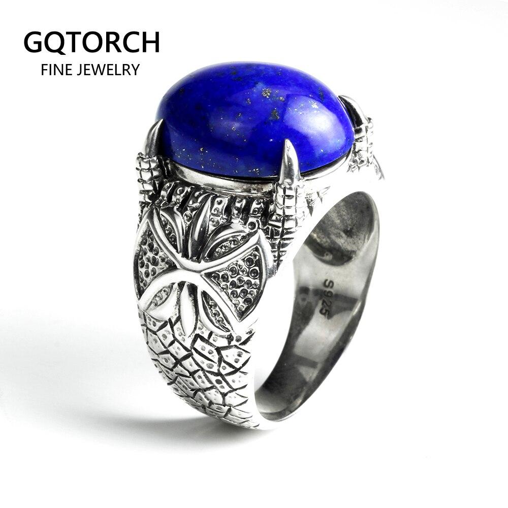 Vintage naturel hommes Lapis Lazuli anneaux 925 en argent Sterling Dragon griffes broche réglage Index bague bijoux turcs