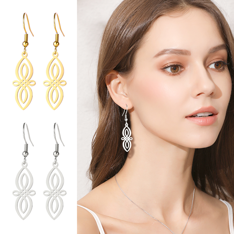 My Shape Drop Earrings Ethnic Flower Hollow Stainless Steel Earrings For Women Gold Color Pendant Jewelry Pendientes Gift