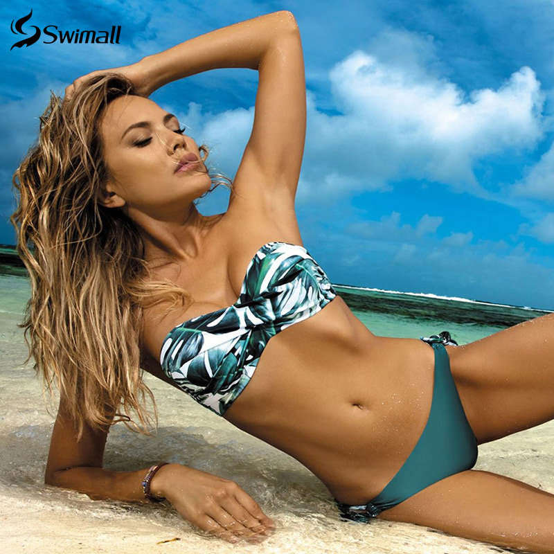 2020 New Leaves Print Bikini Swimsuit Women Push Up Bikini Set Bandeau Swimwear Bathing Suit Brazilian Biquini Female