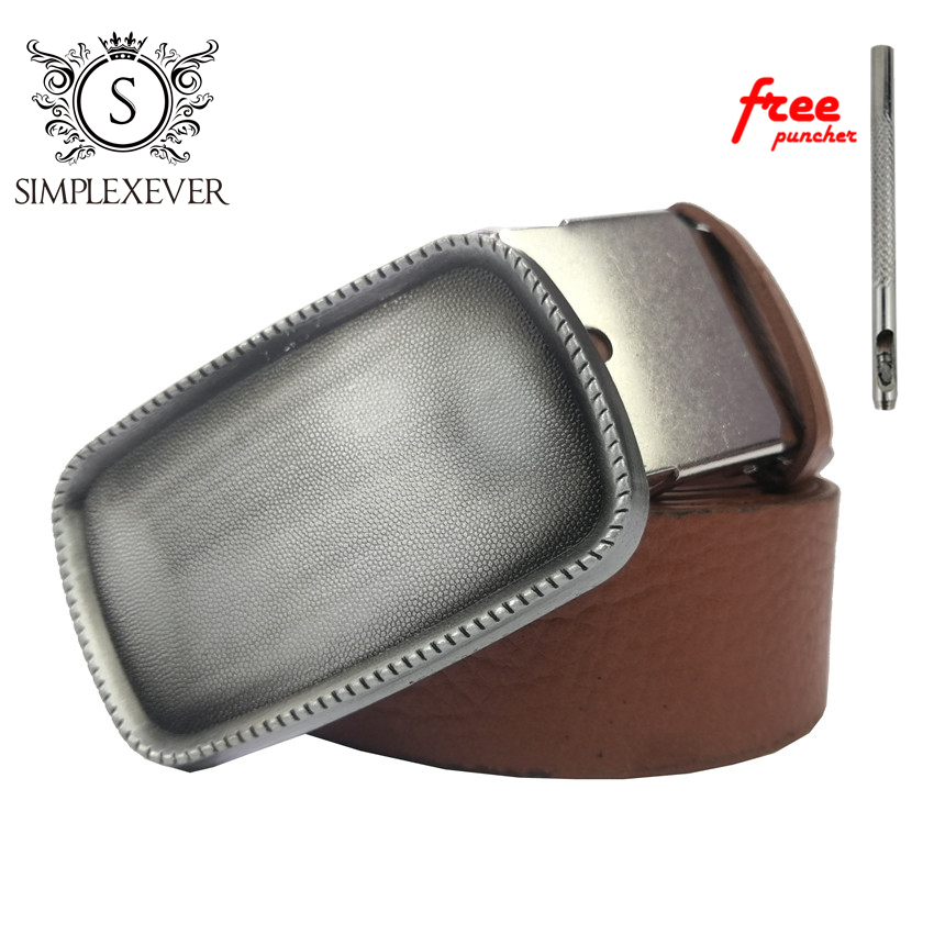 Rectangle Solid Silver Belt Buckles Blank DIY Leather Craft For Men's Buckle Belt Clips Punk Jeans Accessories Buckle