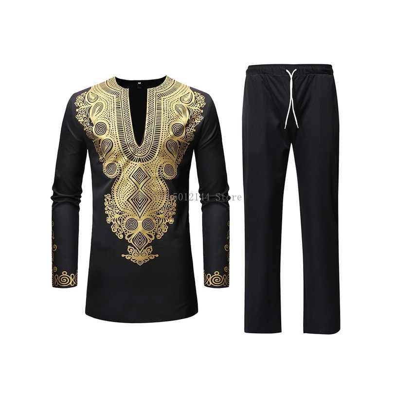 Afrika tarzı erkek takım elbise 2019 Vintage altın desen baskılı kıyafetler rahat uzun üstler ve pantolonlar seti Dashiki afrika takım elbise erkekler için