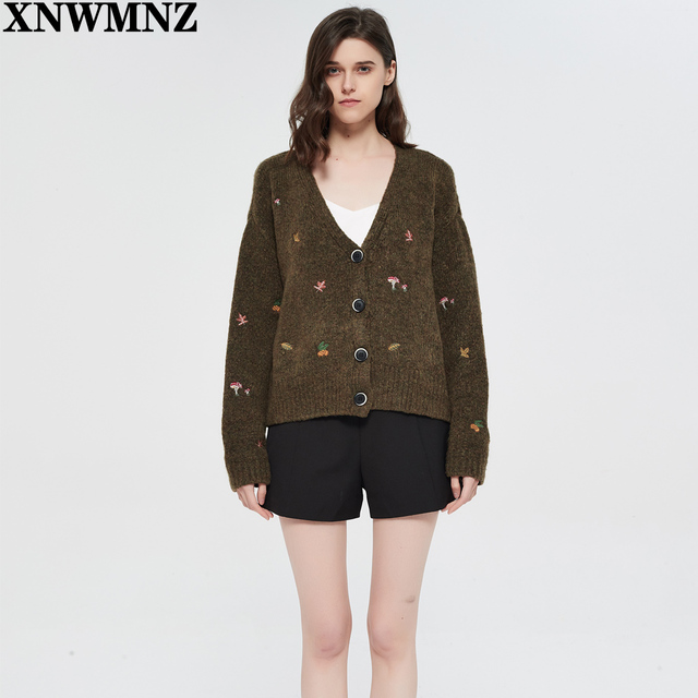 XNWMNZ Za women Vintage knit cardigan with embroidery Long sleeves V-neck ribbed trims Cardigan Female Elegant sweater Outerwear 5