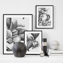 Hand Painted Black White Flower Plant Leaf Wall Art Canvas Painting Nordic Posters And Prints Picture For Living Room Decor