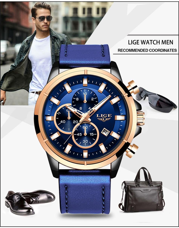 H37e85b5a720c42a8b2990345b603ad73L LIGE Casual Sports Watches For Men Blue Top Brand Luxury Military Leather Wrist Watch Man Clock Fashion Chronograph Wristwatch