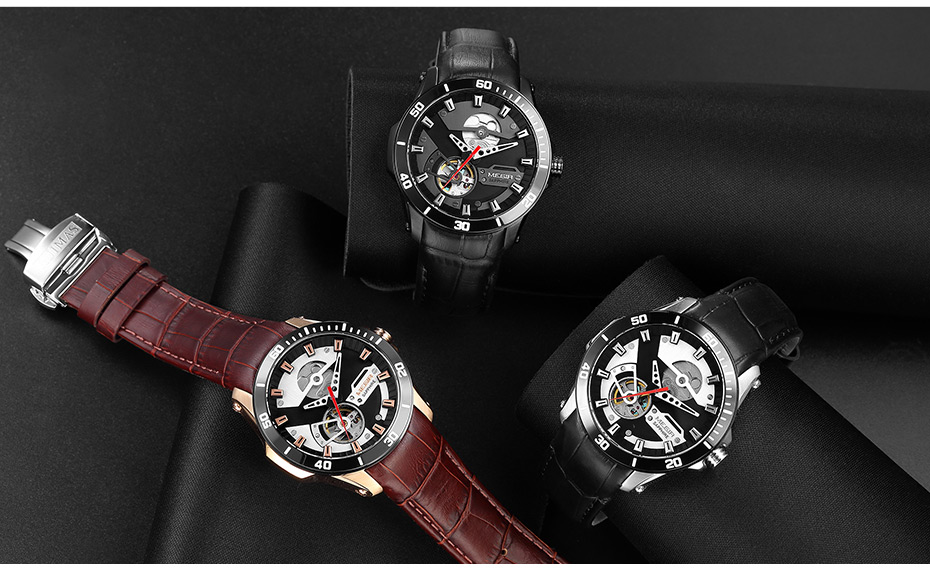 H37e8a7b6022a457ab1a9904ddf8c7ad9U MEGIR Men Mechanical Wristwatches Leather Strap Automatic Mechanical