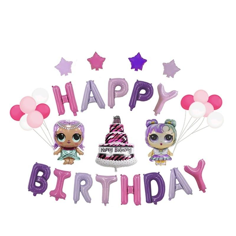 Original lol surpresa bonecas temas de festa balões decoração suprimentos originais lol bonecas balão conjunto menina celebrar brinquedos presentes