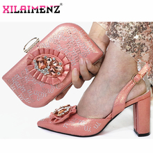 2019 تصميم الأزياء الإيطالية أحذية عالية الكعب وحقيبة لمطابقة الأحذية النيجيري و مجموعة الحقائب في لون الخوخ السيدات أحذية الحفلات وحقيبة