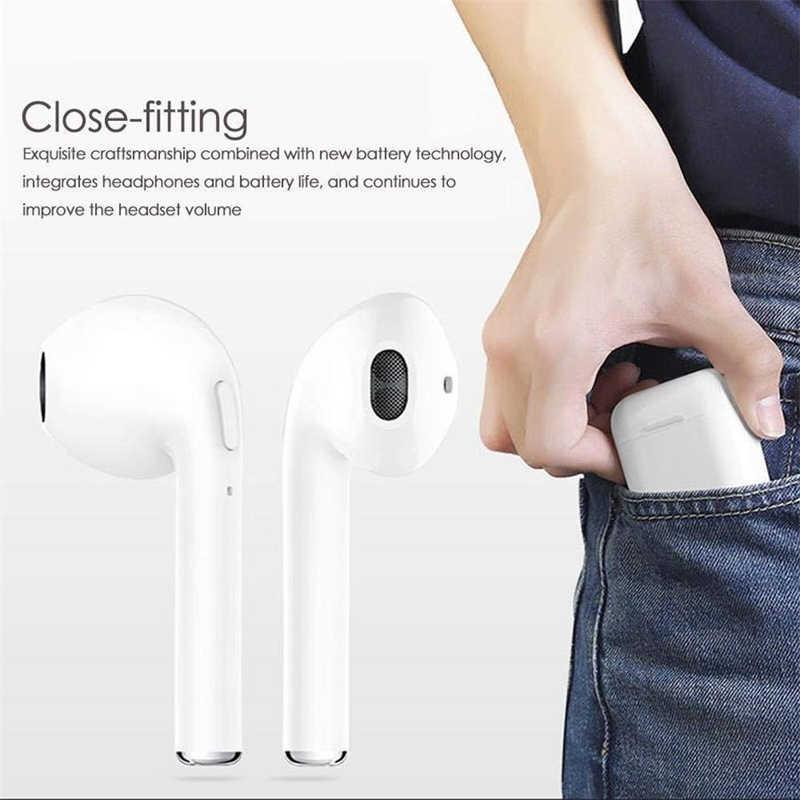 I7s Tws Earphone Nirkabel Headphone Bluetooth Air Earbud Handsfree Di Telinga Headset dengan Pengisian Kotak untuk Iphone Huawei Xiaomi