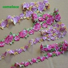 5yds/lote roxo misturado, rosa misturado floral estilo venise guarnição do laço com design para o casamento nupcial, decoração do vestuário
