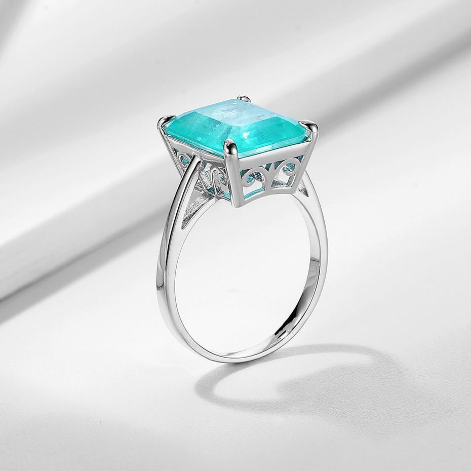 Kuololit Paraiba Gemstone Rings for Women Real 925 Sterling Silver Emerald Cutting Tourmaline Handmade Engagement Bride Jewelry 6