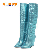 Plus Size Gold Glitter Women Knee High Boots Pink Blue Block Heels Spike Heels Sexy Casual Party Ladies Bling Pleated Long Boots
