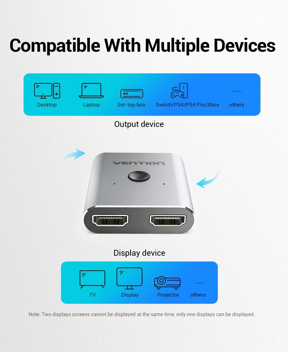4K HDMI Switch 2 Ports Bi-directional 1x2 / 2x1 HDMI Switcher Splitter Supports H37e96235afd444649b2d5597260805d7q