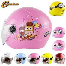 Kinder Motorrad Helm Nette Open Gesicht Roller Helm für Kinder Flip Up Visier Capacete Halbe Gesicht Enfant Elektrische Bike Cascos