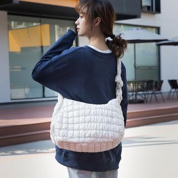 Fashion Knot Strap Cotton Feather Down Crossbody Pillow Bags for Women Regular Geometric Winter Warm Handbag 2021 MABULA