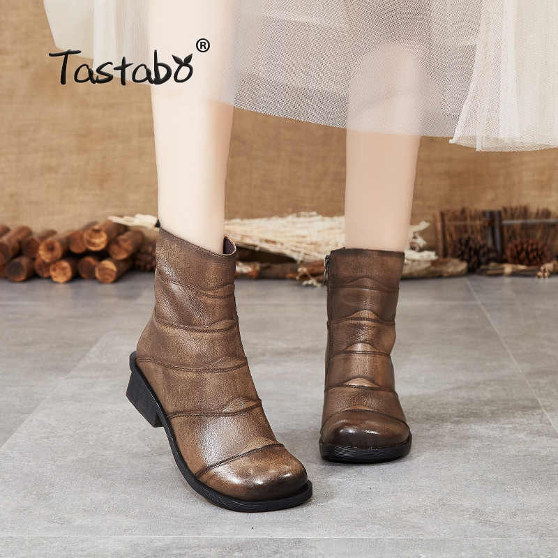 Tastabo hakiki deri bayan yarım çizmeler haki siyah S88208 düşük topuk günlük bayan botları Retro tarzı rahat yumuşak alt