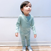 Baby Girl Clothes Set Pure Cotton Infant Boys Long Sleeve Set Sweaters+Pants 2pcs Warm Thread Pit Jerseys Kids Clothing Outfits