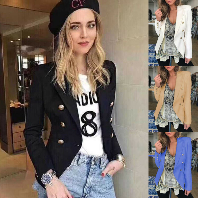 2019 Fashion Women Collar Blazer Suit Thin Jacket Ladies Formal Coat Cardigan Button Autumn Blazers