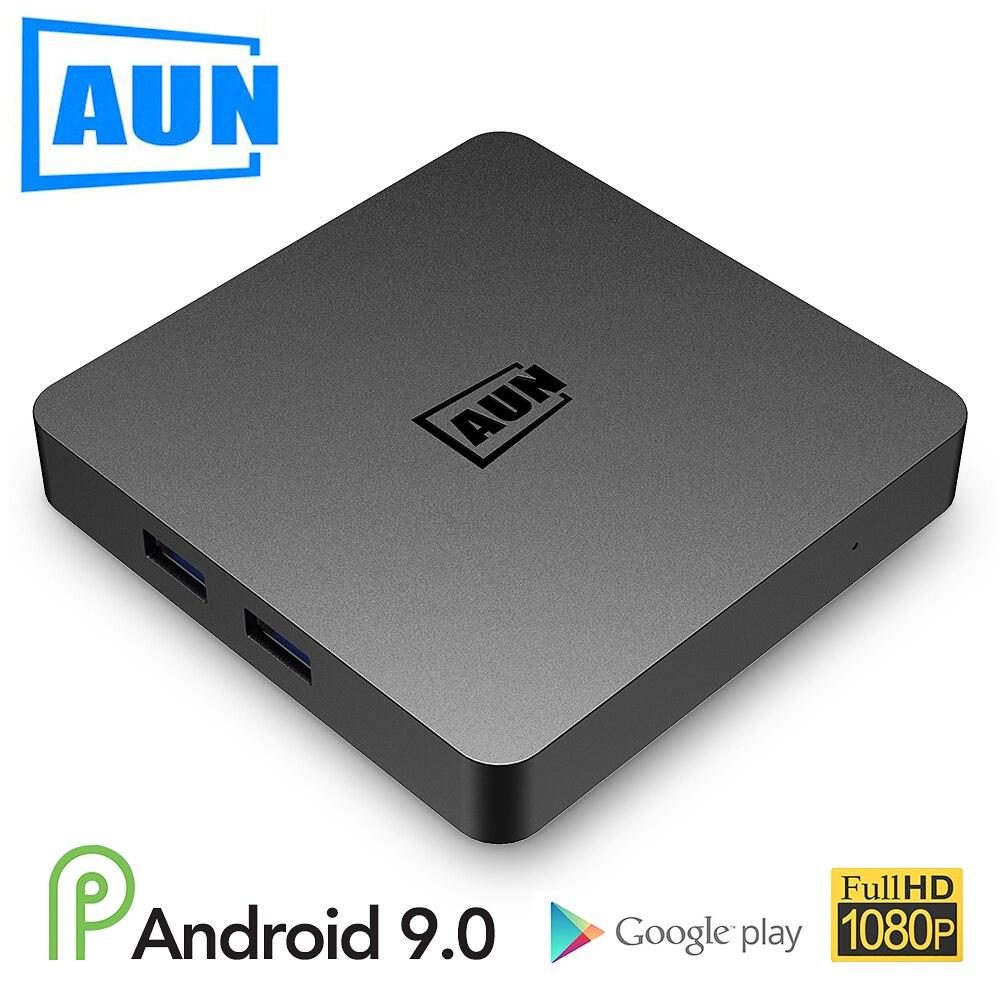 AUN BOX 1 boîtier TV Android 9.0, 2 go de RAM + 16G ROM. Décodage Ultra HD 4 K, WIFI HDMI2.0 Google lecteur décodeur intelligent