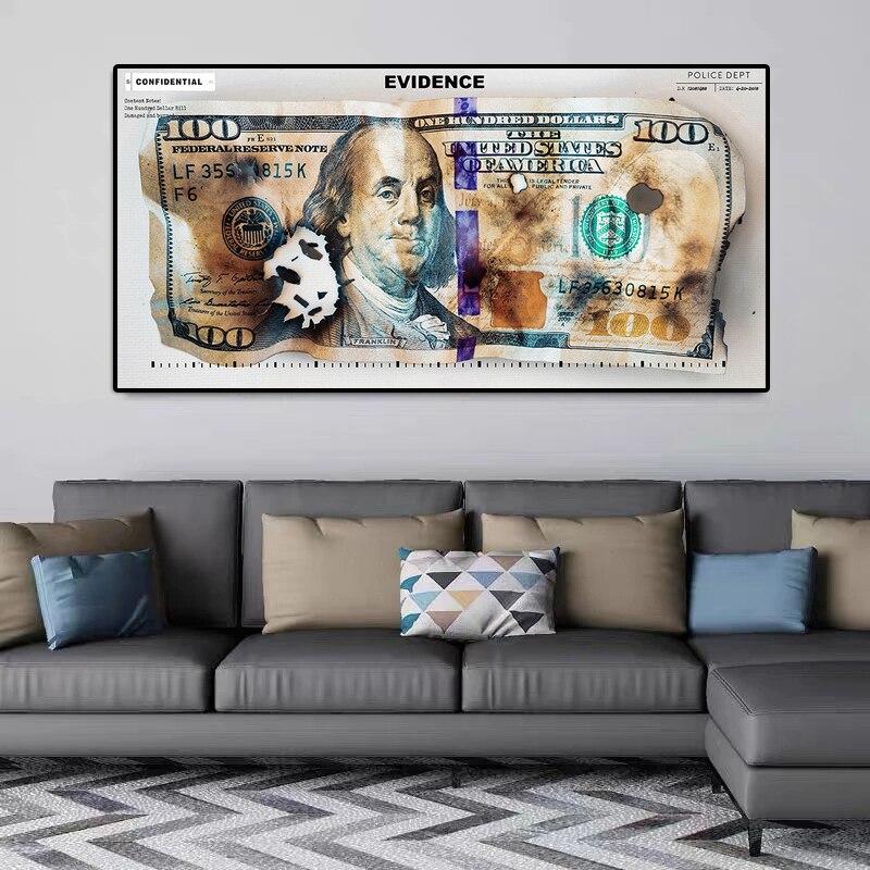 Dollar brûlé Art moderne toile affiches et impressions argent créatif 100 Dollars photo décoration murale peintures pour salon