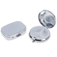 цена на Portable Silver Metal Round Rectangle Pill Box Durable Drug Holder 2/3 Cell Capsule Box Container Storage Medicine Tablet Travel