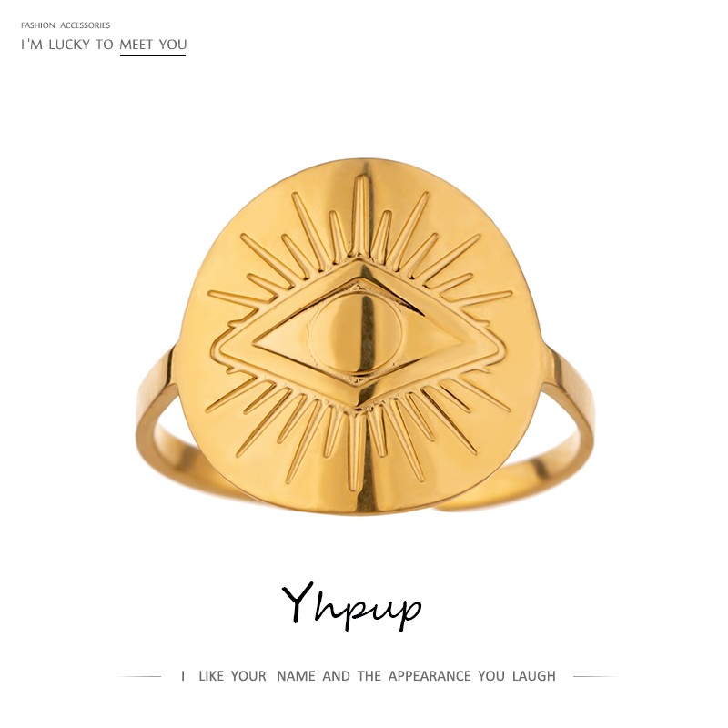 Yhpup 2021 Trendy Eye Ring Stainless Steel 18 K Plated Metal Texture Punk Ring Accessories for Women Statement кольцо женское