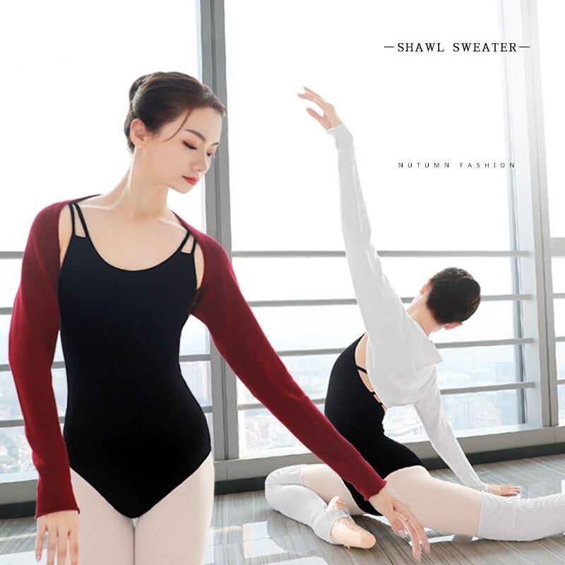 2020 New Women Ballet Knit Warm Shawl Girls Autumn Winter Long Raglan Sleeves Dance Sweater Top Coat for Ballet(China)