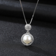 S925 Pure Silver Natural Pearl Pendant with 3A Zircon Korean Version Simple Clavicle Ornaments Jewelry for Women