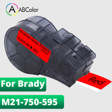 Label Tape For M21-750-595 Label Tape Black on Red For Brady M21 750 595 Tape For Brady BMP21 Plus/IDPAL/LABPAL Label Printer uniplus 750 595 vinyl label tapes replace brady label printer bmp21 plus labpal idpal m21 750 595 white on green adhesive sticky