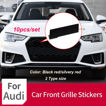 10pcs Car Head Front Grille Sticker Metal Letter Number Black red/Silvery Red  for S3 S4 S5 S6 RS3 RS4 RS5 RS6 RS8 Car Accessory
