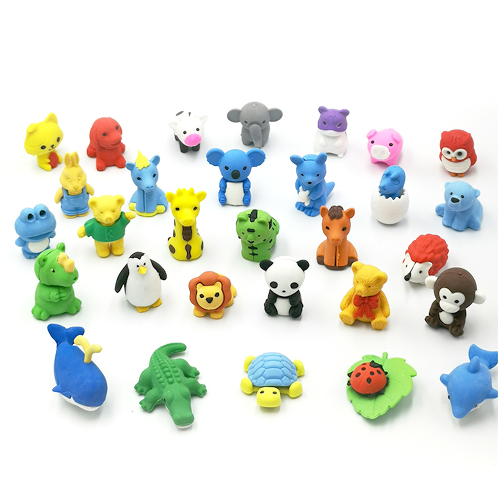50pcs / lot Varies Animal Erasers Novelty Different Kinds of Animal Erasers Panda / Tiger / Elephant ...