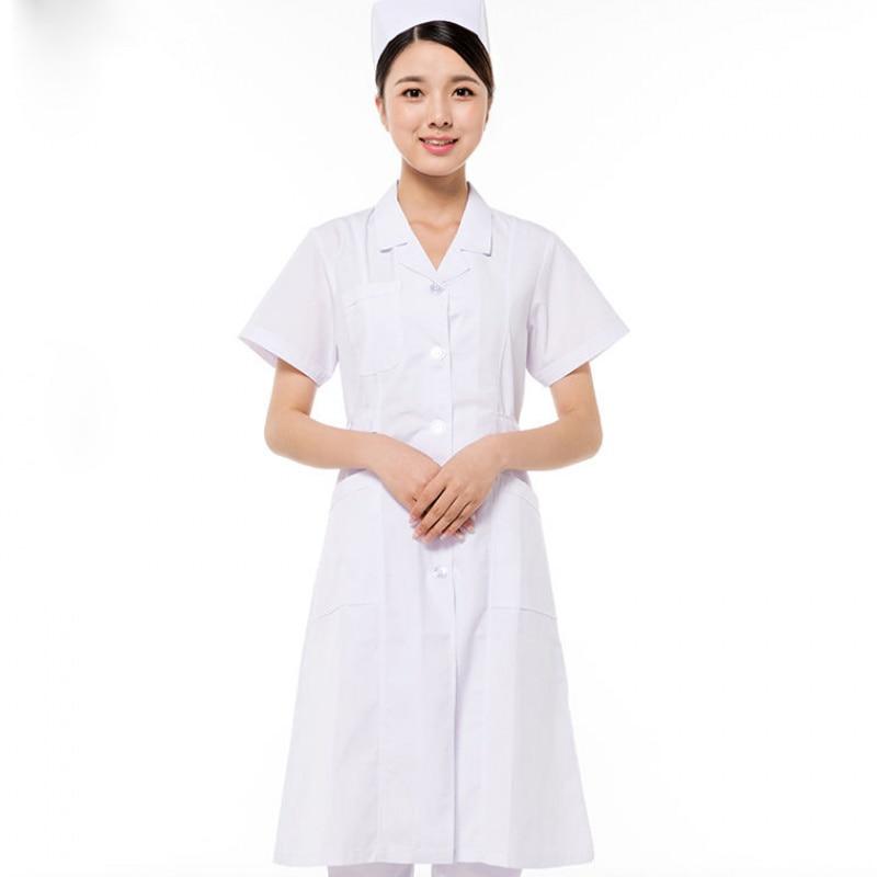 Medical Uniforms Clothes Spot Hospital Robe Lab Coat Medical Spa  Nursing Uniform Pharmacy White Lab Coat Women Summer Overalls