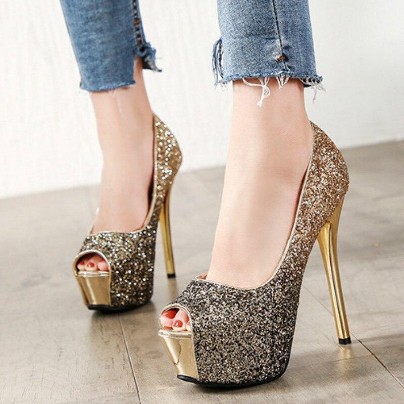 Fashion Gradient Color Women Pumps Shoes Summer Platform Peep-toe 12/14cm High Heels Office Party Sexy Ladies Club Female Shoes