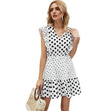 Casual White Polka Dot Print Summer Women Dress 2021 Patchwork Ruffles V-Neck Sleeveless Chiffon Mini Dresses For Women Vestidos