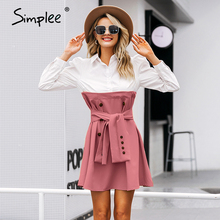 Simplee Patchwork puff sleeve shirt dress women Elegant button sash belt office ladies dresses Autumn ladies khaki work dress
