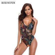 New Sexy Black Print Swimsuit Women One Piece Suit Double Straps Bathing S-XL Girl Cross Back Bandage Swimwear Monokini