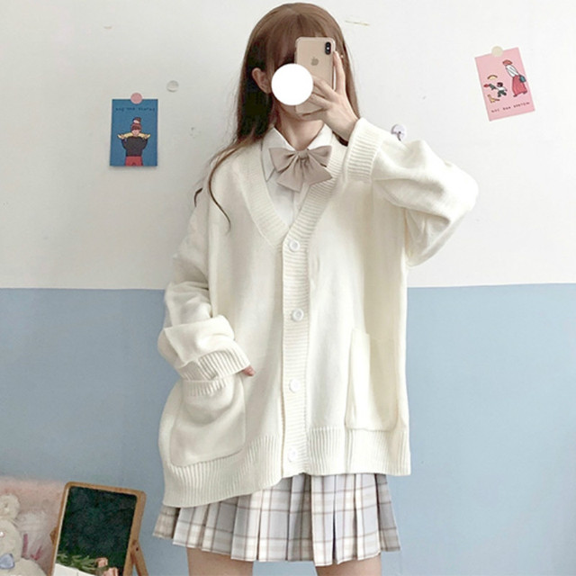 Cardigan Women Solid Oversize Harajuku Loose Sweaters Student Preppy Sweet Girl Cute Knitwear New All-match Soft Hot Sale Basic 2